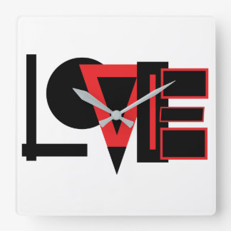Square Love Clock De Pared