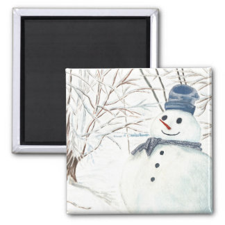 Square Magnet with Snowman