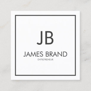 Minimalist business cards profile cards zazzle ca square minimalist black and white monogram square business card reheart Images
