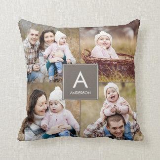 Square Monogram Custom Photo Throw Pillow