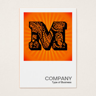Square Monogram - Paisley Sunburst - M Business Card