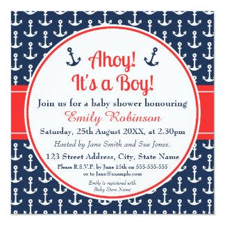 Square Nautical Baby Shower Invitation Boy