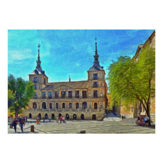 Square of city hall of the city of Toledo. Poster