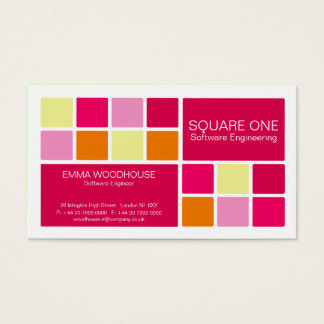 Square One White, Pink & Orange Business Card