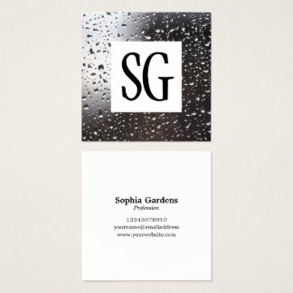 Square Panel - Initials - Rain on a Window Square Business Card
