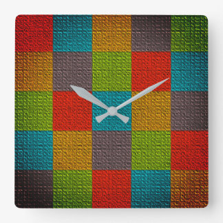 Square Pattern Colorful Bold Patchwork Bright Cool Square Wall Clock