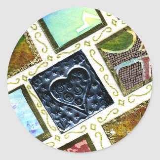 Square Pattern Different Techniques Metal Heart Round Sticker