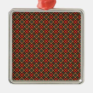 Square pattern metal ornament