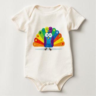 Square Peacock (Grunge) Baby Bodysuit