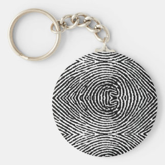 Square People Fingerprints Basic Round Button Keychain