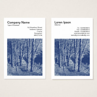 Square Photo (v3) - Trees by a River - Cyanotype Business Card
