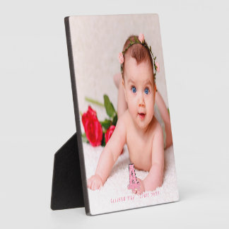 Square Pink Monogram A Custom Name and Photo Plaque