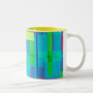 Square Plaid Two-Tone Coffee Mug