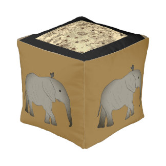 Square pouf Elephants Africa