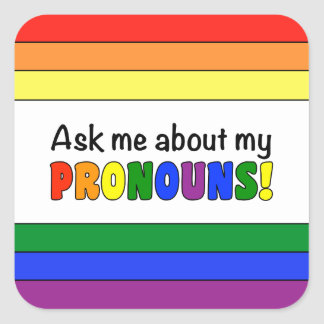 Square Pronouns Sticker (Rainbow)