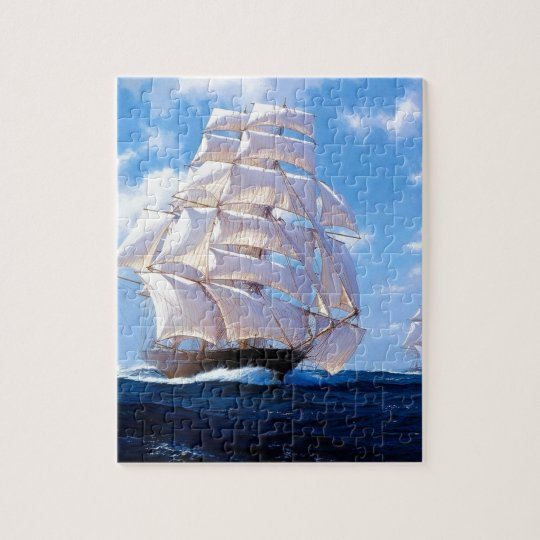 Square rigged ship at sea jigsaw puzzle