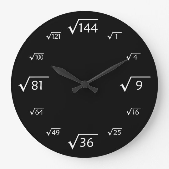 Square Root Large Wall Clock (Black/White)