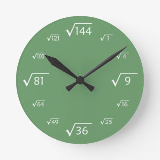 Square Root Wall Clock Green White