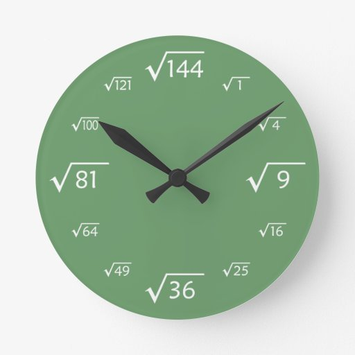 Square Root Wall Clock (Green/White)