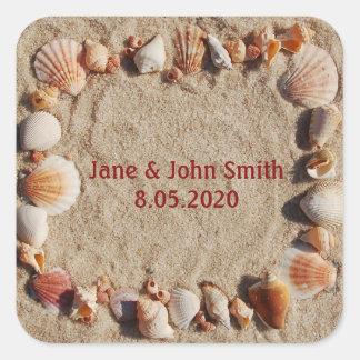Square Sea Shell Design Favor Stickers