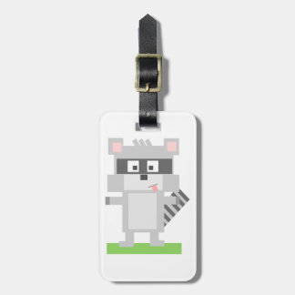 Square Shaped Cartoon Raccoon Sticking Out Tongue Luggage Tag