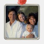 Square Silver Christmas Family Photo Ornament