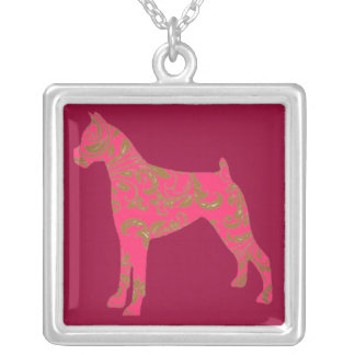 Square Silver- Plated Boxer Necklace