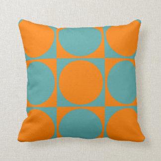 Square Sofa Cushion, Orange&Blue Squares&Circles Throw Pillow