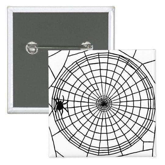 Square Spider Web, Scary Halloween Design 2 Inch Square Button