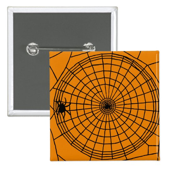 Square Spider Web, Scary Halloween Design 2 Inch Square Button