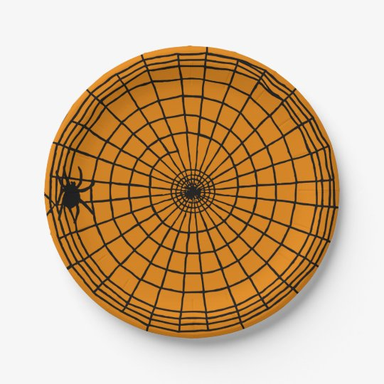Square Spider Web, Scary Halloween Design 7 Inch Paper Plate
