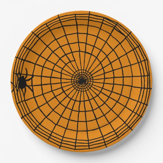 Square Spider Web, Scary Halloween Design 9 Inch Paper Plate