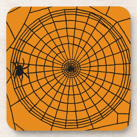 Square Spider Web, Scary Halloween Design Beverage Coasters