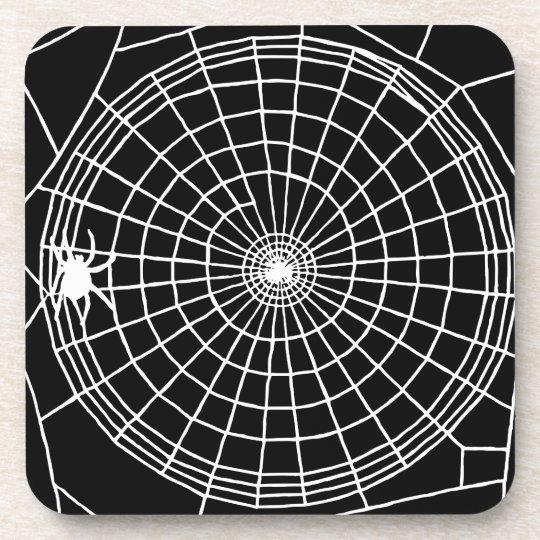 Square Spider Web, Scary Halloween Design Coaster