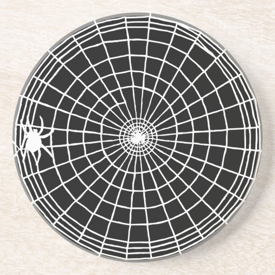 Square Spider Web, Scary Halloween Design Coasters