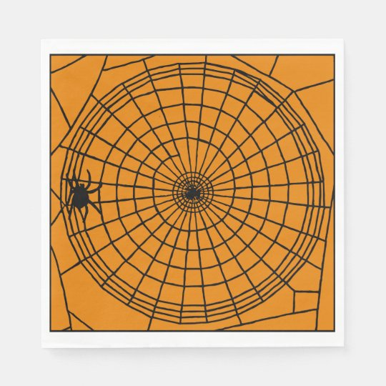Square Spider Web, Scary Halloween Design Disposable Napkin