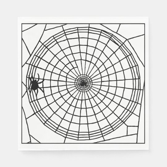 Square Spider Web, Scary Halloween Design Disposable Napkin