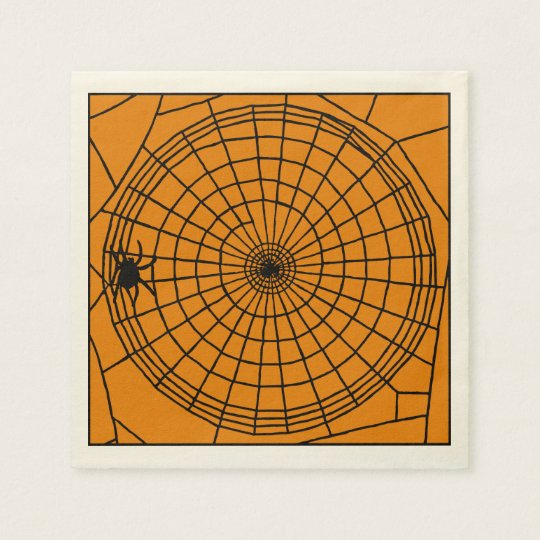 Square Spider Web, Scary Halloween Design Disposable Napkins