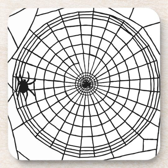 Square Spider Web, Scary Halloween Design Drink Coaster