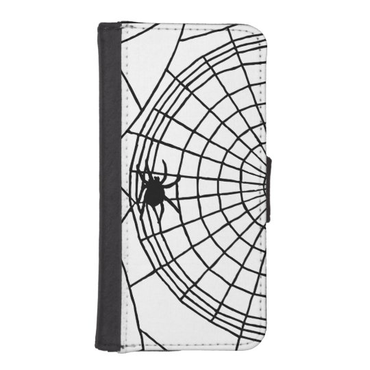Square Spider Web, Scary Halloween Design iPhone 5 Wallet