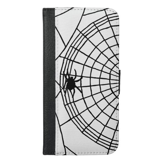 Square Spider Web, Scary Halloween Design iPhone 6/6s Plus Wallet Case