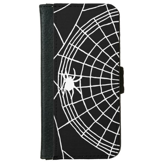 Square Spider Web, Scary Halloween Design iPhone 6 Wallet Case