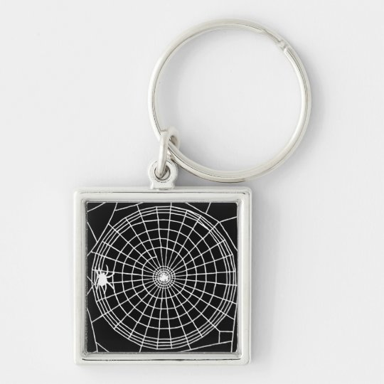Square Spider Web, Scary Halloween Design Keychain