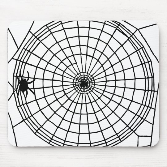 Square Spider Web, Scary Halloween Design Mouse Pad