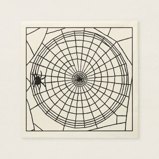 Square Spider Web, Scary Halloween Design Paper Napkins