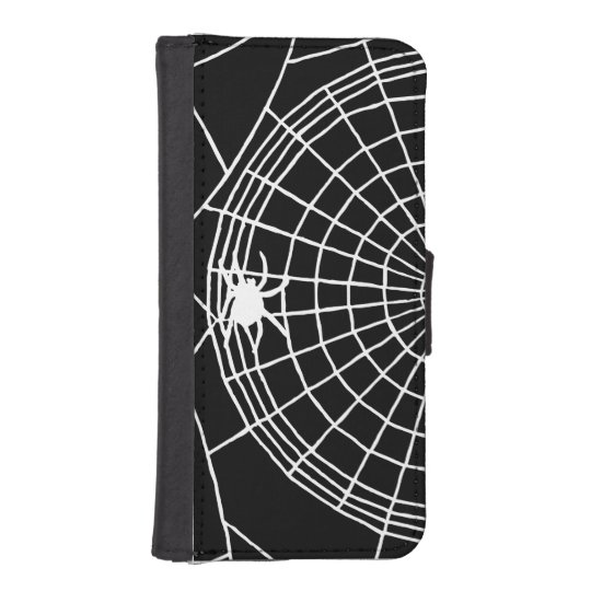 Square Spider Web, Scary Halloween Design Phone Wallets
