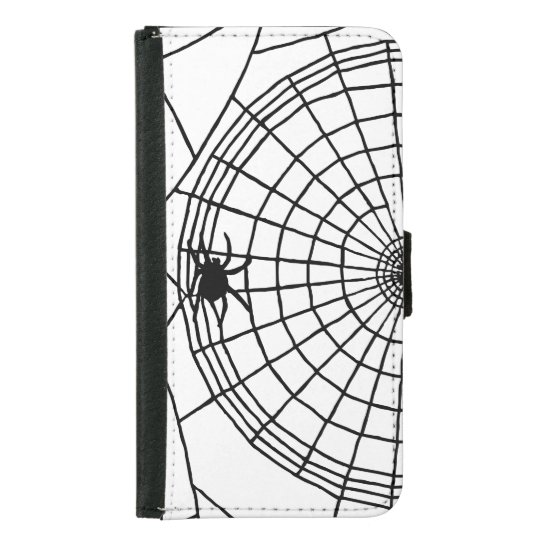 Square Spider Web, Scary Halloween Design Samsung Galaxy S5 Wallet Case
