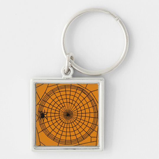 Square Spider Web, Scary Halloween Design Silver-Colored Square Keychain