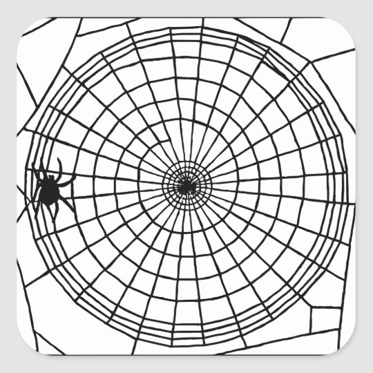 Square Spider Web, Scary Halloween Design Square Sticker