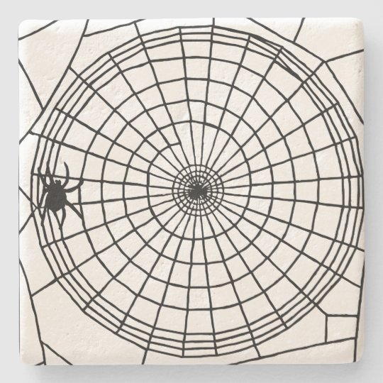 Square Spider Web, Scary Halloween Design Stone Beverage Coaster